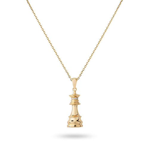The Queen Power - Yellow Gold White Diamonds Queen Necklace