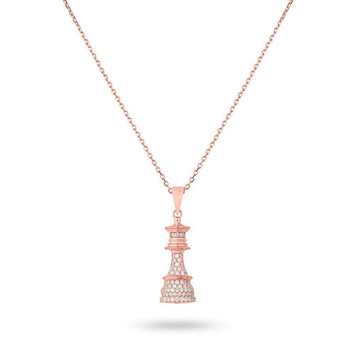 The Queen Power - Rose Gold White Diamonds Necklace