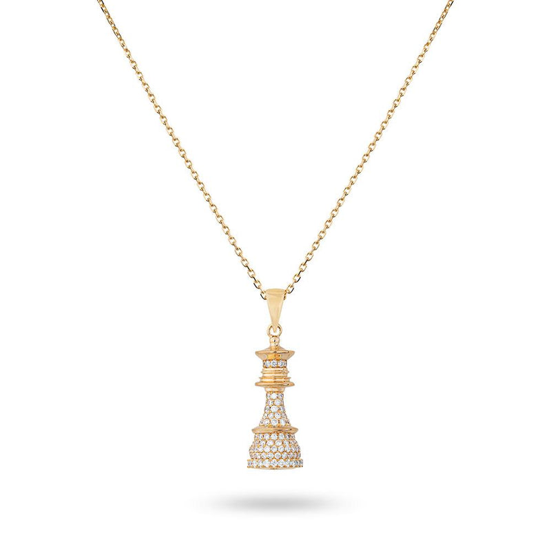 The Queen Power - Yellow Gold White Diamonds Necklace