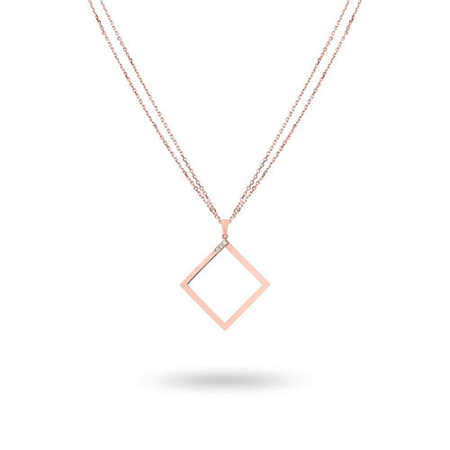 Geo - Rose Gold Square Necklace