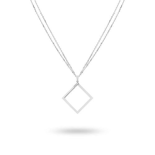 Geo - White Gold Square Necklace