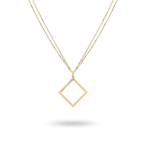 Geo - Yellow Gold Square Necklace