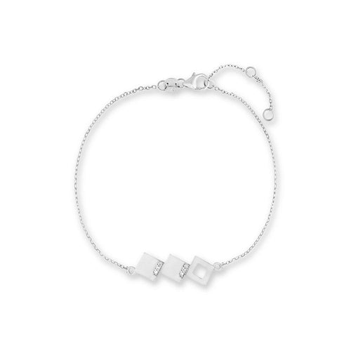 Geo - White Gold Square Bracelet