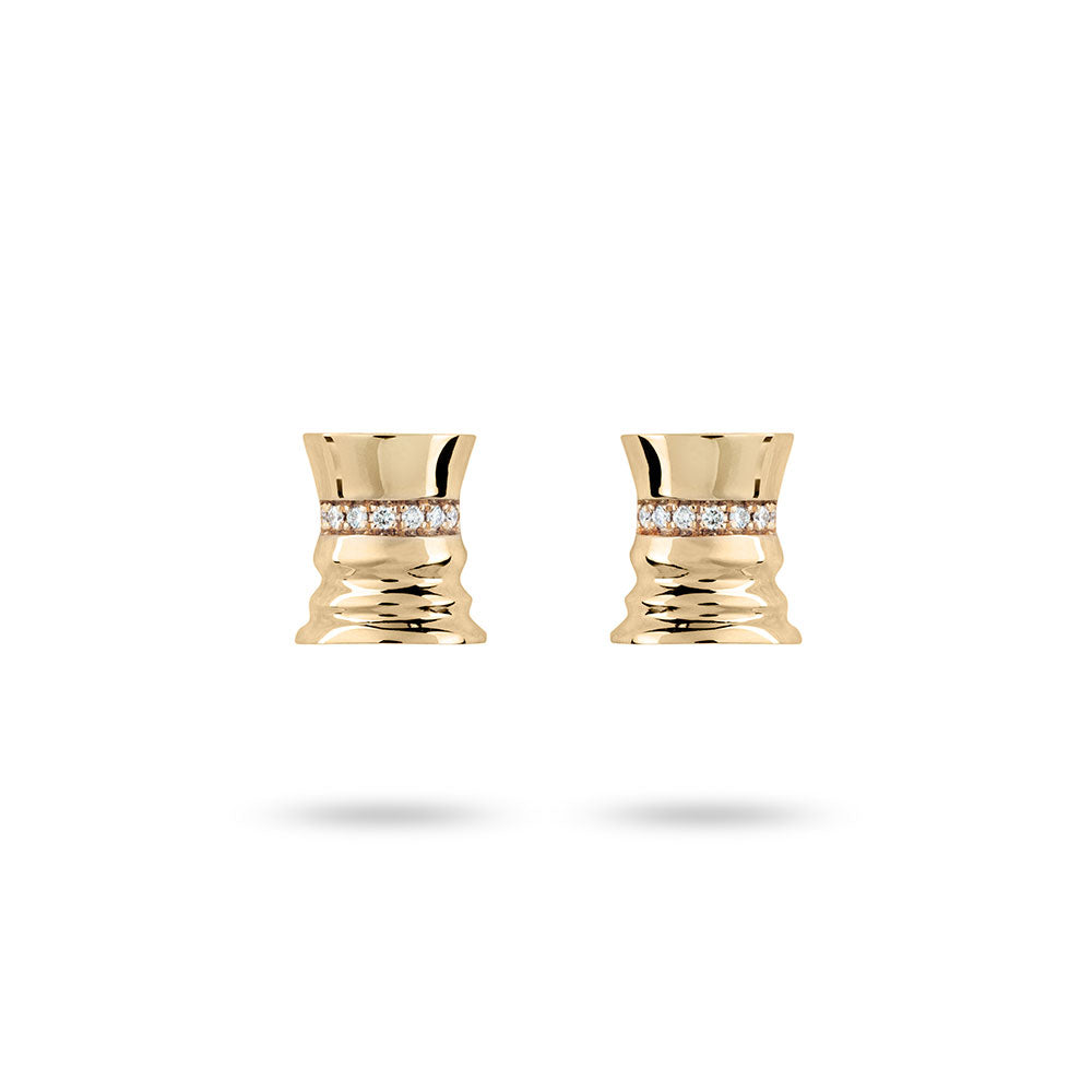 The Queen - Yellow Gold White Diamonds Queen Studs