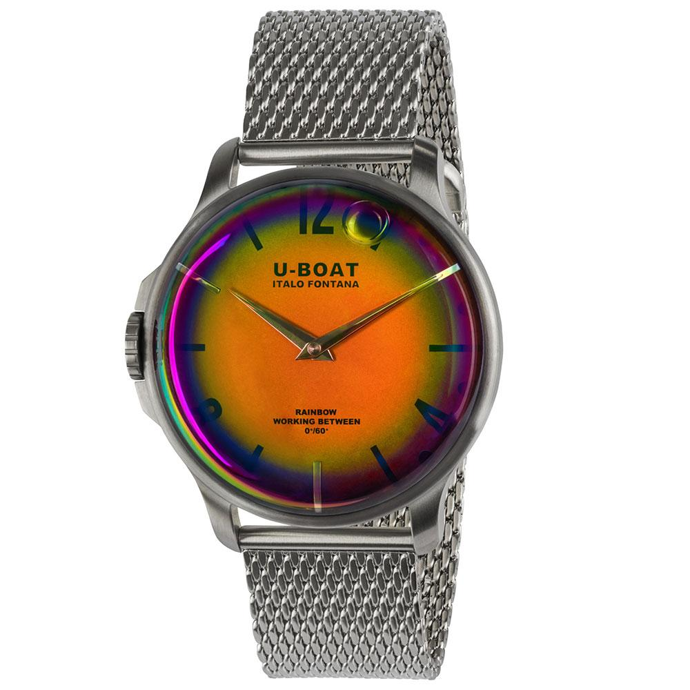 U-BOAT Rainbow 44mm in steel with oil filled case, orange nuance dial and steel bracelet.