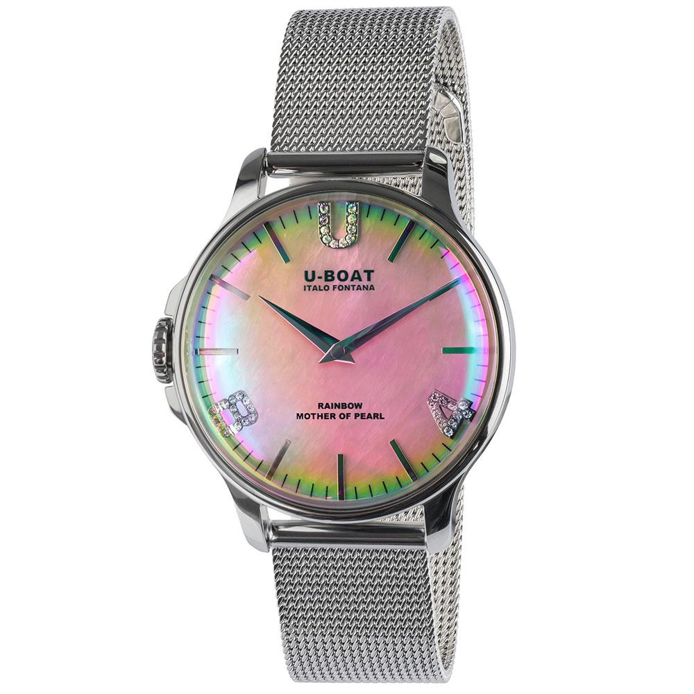U-BOAT Rainbow 38mm in steel with pink mother of pearl dial and steel bracelet.