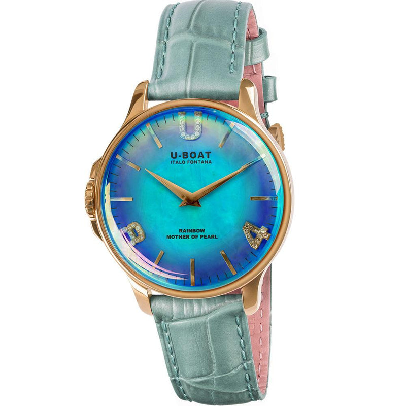 U-BOAT Rainbow 38mm in IP Gold coated steel with blue mother of pearl dial and turquoise alligator print leather strap.