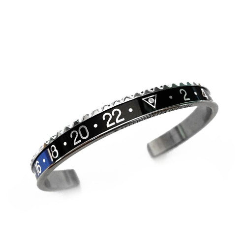 Classic Steel Bangle Blue & Black Insert