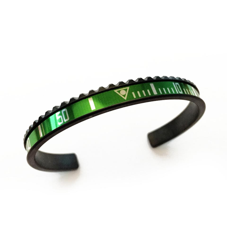 Classic Black DLC Coated Steel Bangle Green Insert