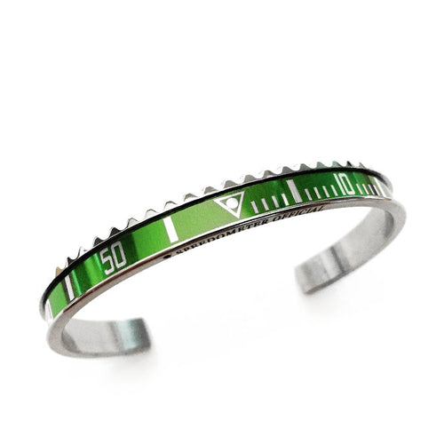 Classic Steel Bangle Green Insert