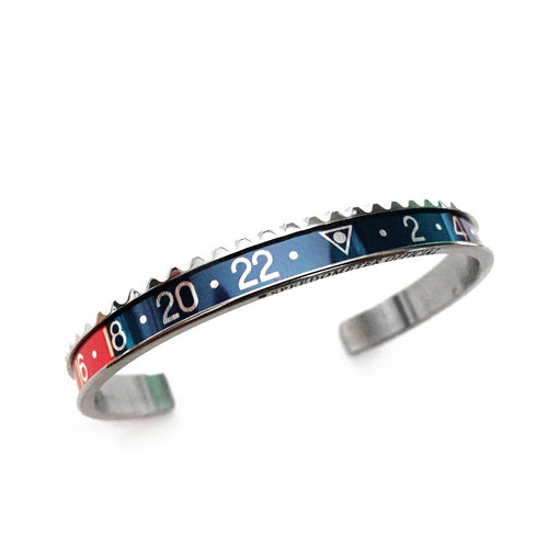 Classic Steel Bangle Red & Blue Insert