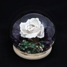 Load image into Gallery viewer, Glass Dome Ceramic White Rose Perfume Diffuser 陶瓷白玫瑰擴香擺設