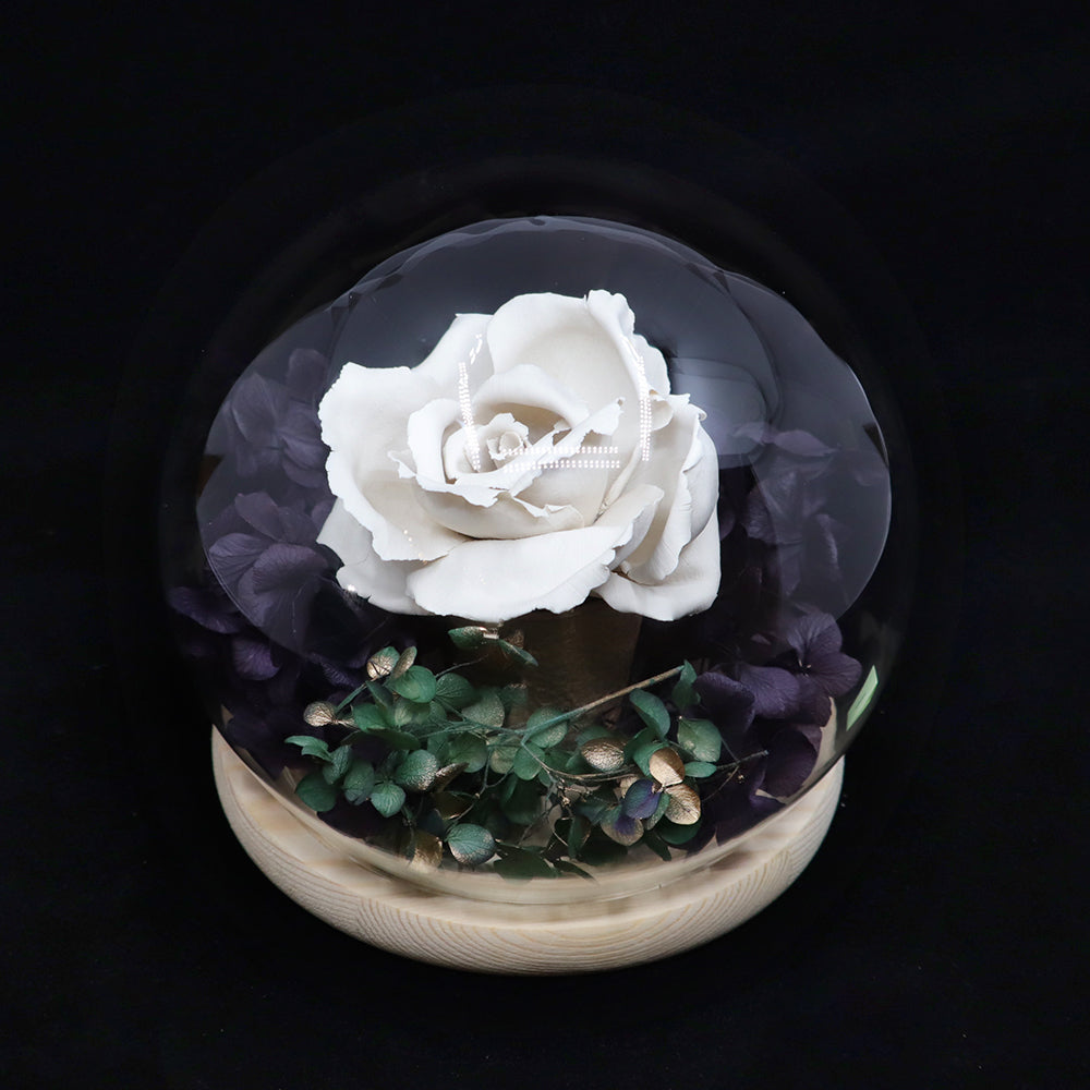 Glass Dome Ceramic White Rose Perfume Diffuser 陶瓷白玫瑰擴香擺設