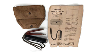 Vintage POWERS VOLTESTER E-112 w Leather Case / Holster