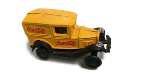 Vintage Yellow Coca Cola Cast Iron Metal Toy Car