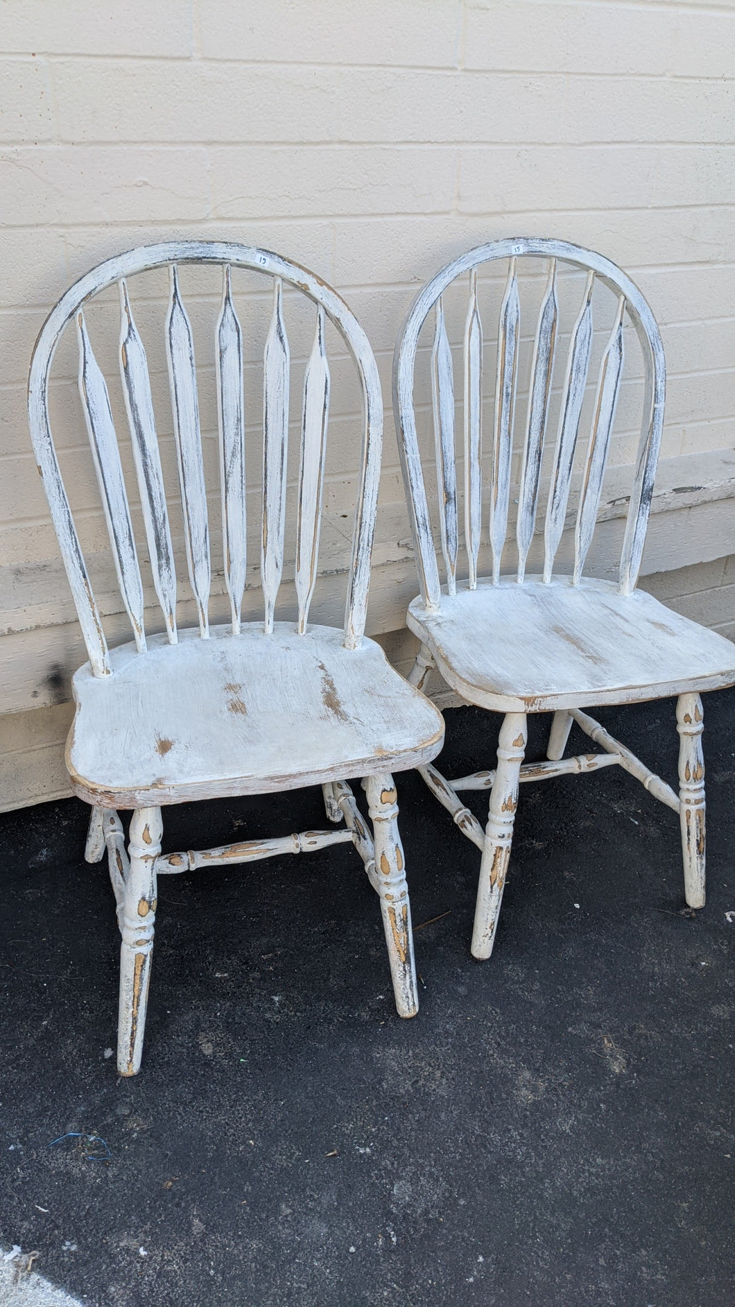 Distressed White Shabby Shic Chairs.