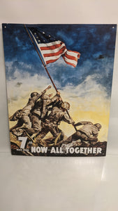 7th War Loan NOW ALL TOGETHER Metal Tin Sign Vintage Iwo Jima US Flag 12x16