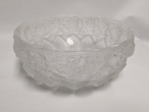 Frosted Glass Floral Bowl