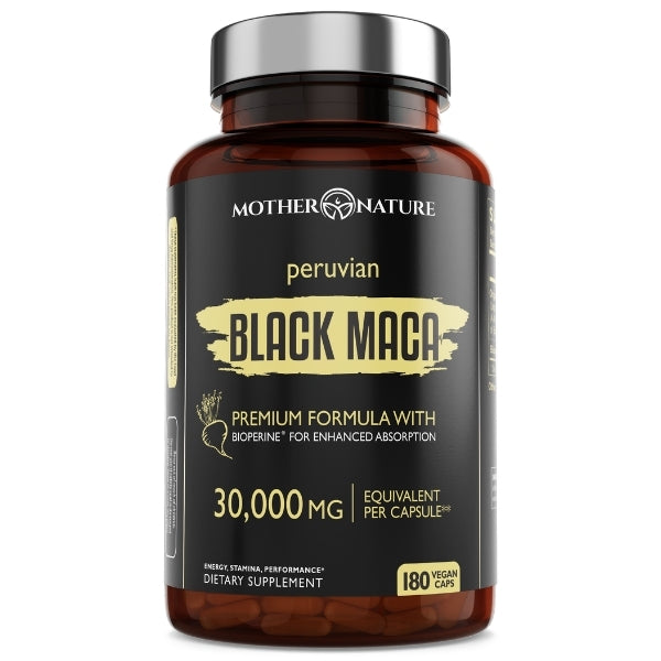 Black Maca Capsules 30,000 mg - Mother Nature Organics