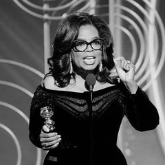Oprah at Golden Globes black and white photo