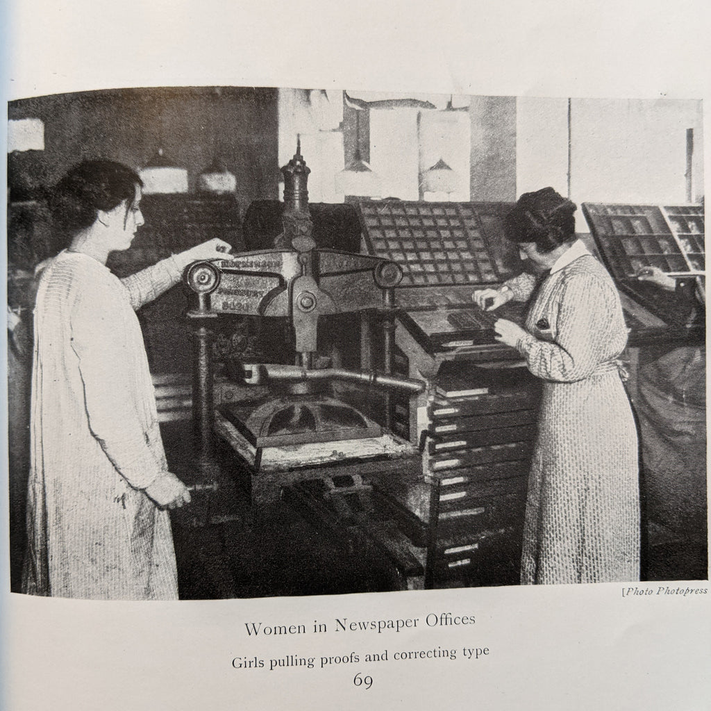 Black and white photographs of two white women in dresses standing on either side of a small hand-press. One woman has both hands on the press and appears to be taking an impression, while the other stands in front of a case of type and selects pieces.