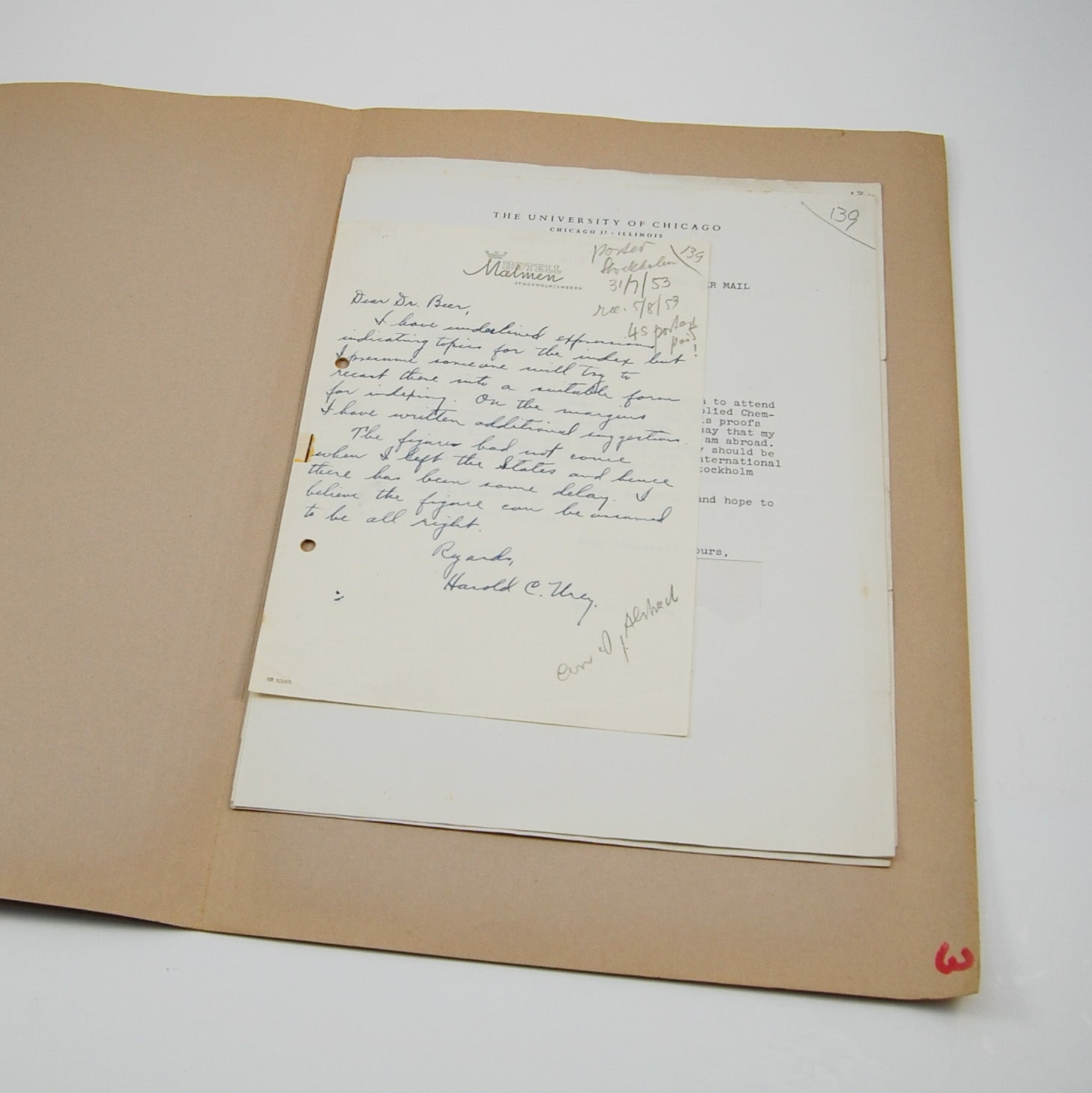 Urey, Harold | Archive of correspondence with astronomer Arthur Beer