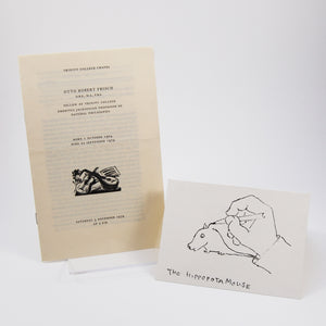 "Frisch, Otto Robert | Order of service for Frisch's memorial & card depicting his ""hippopotamouse"""