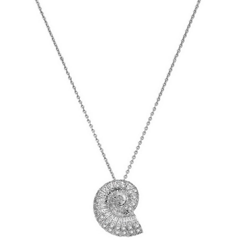 Diamond Seashell Pendant Necklace .18ct (18k White Gold)