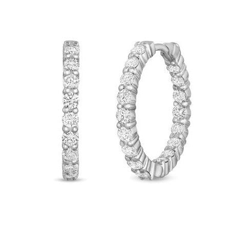 Diamond In-Out Hoop Earrings 1.95ct (18k White Gold)