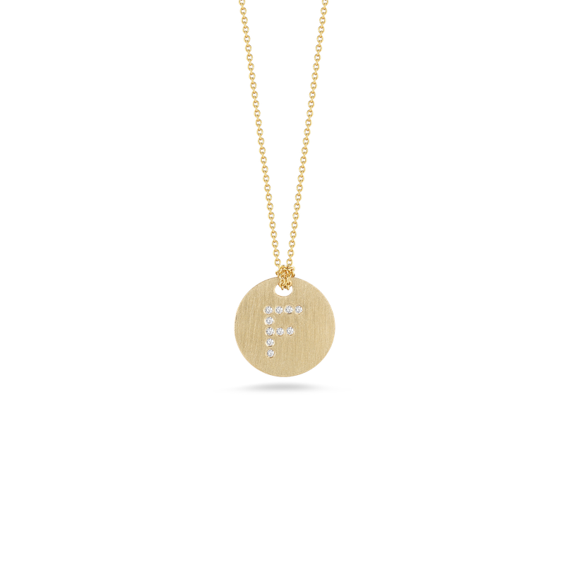 "Diamond Initial Disc ""F"" Necklace (18k Yellow Gold)"