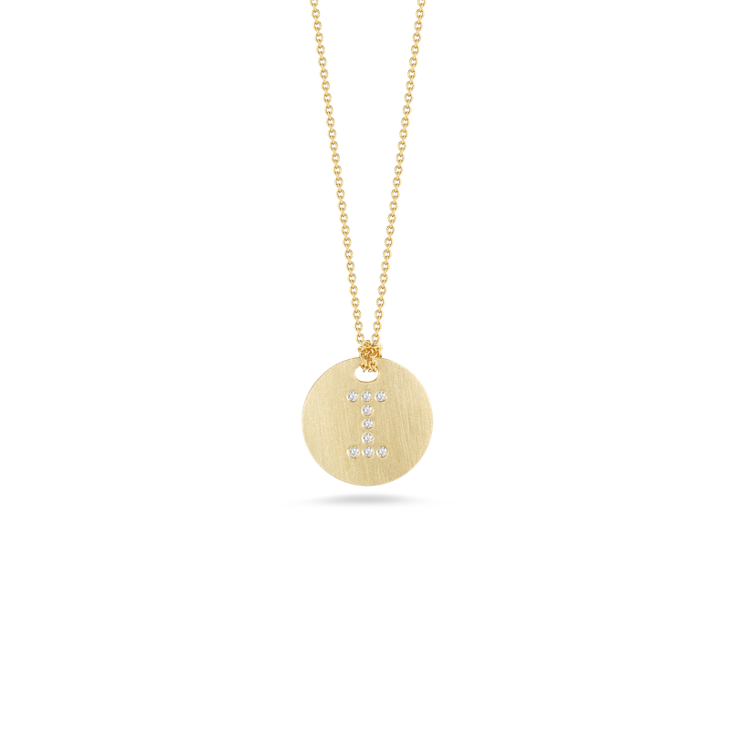 "Diamond Initial Disc ""I"" Necklace (18k Yellow Gold)"