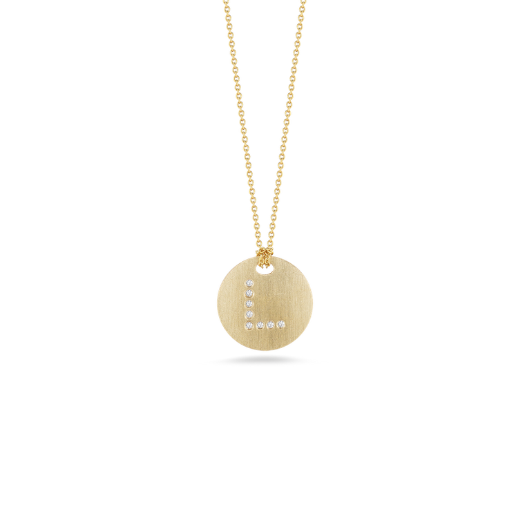 "Diamond Initial Disc ""L"" Necklace (18k Yellow Gold)"