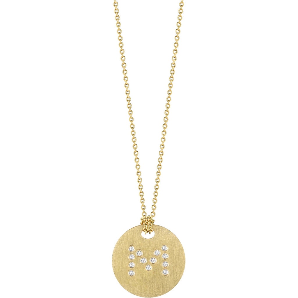 "Diamond Initial Disc ""M"" Necklace (18k Yellow Gold)"