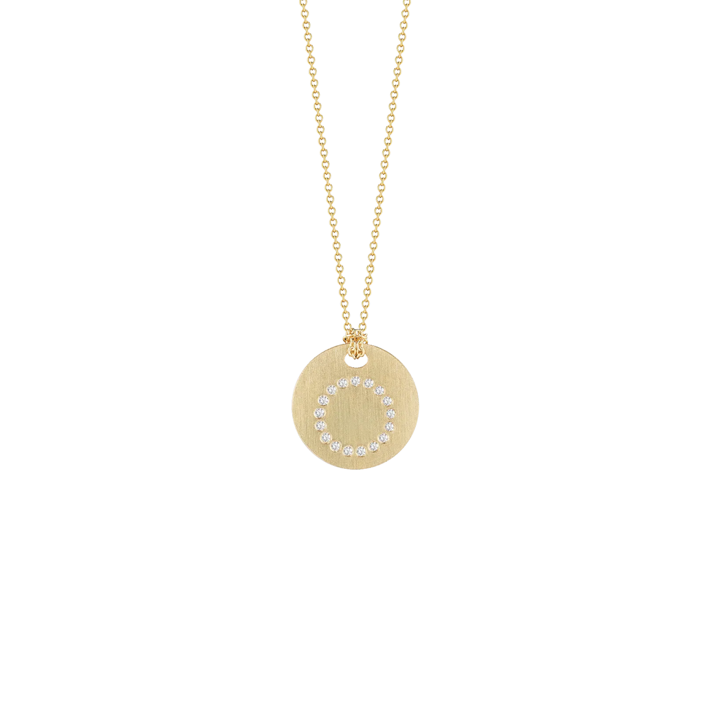 "Diamond Initial Disc ""O"" Necklace (18k Yellow Gold)"