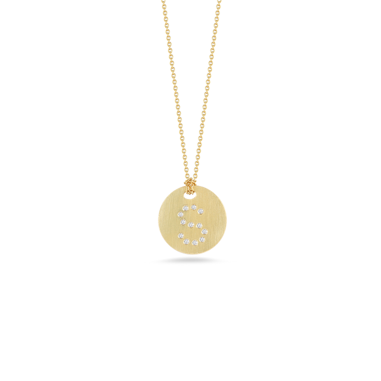 "Diamond Initial Disc ""S"" Necklace (18k Yellow Gold)"