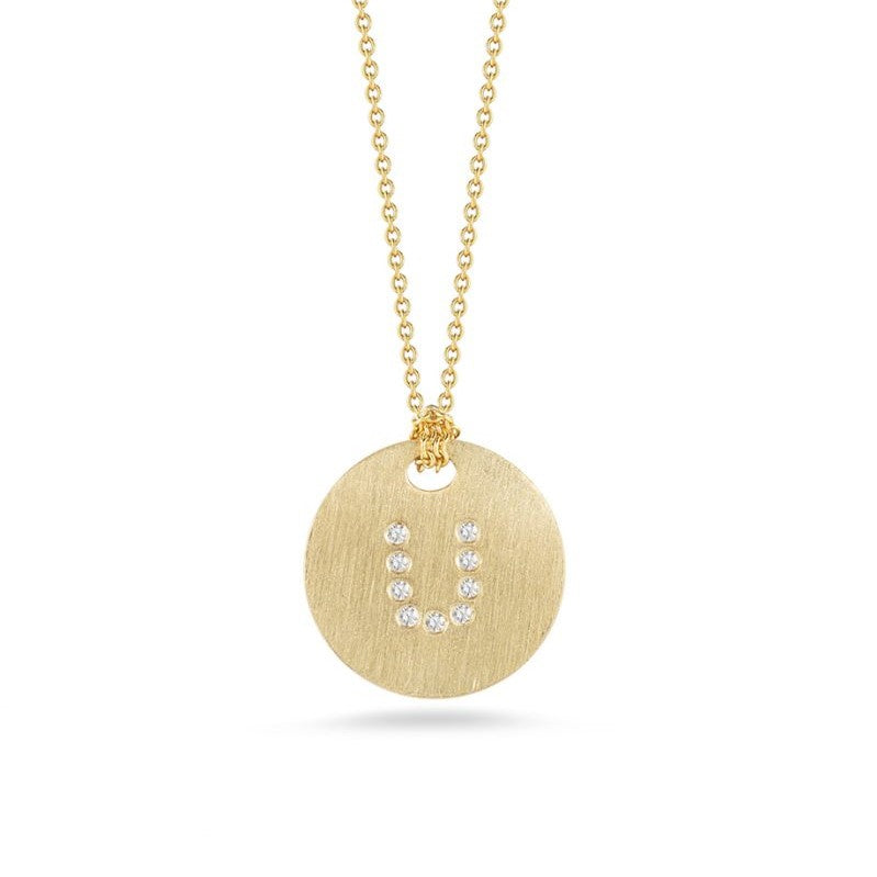 "Diamond Initial Disc ""U"" Necklace (18k Yellow Gold)"