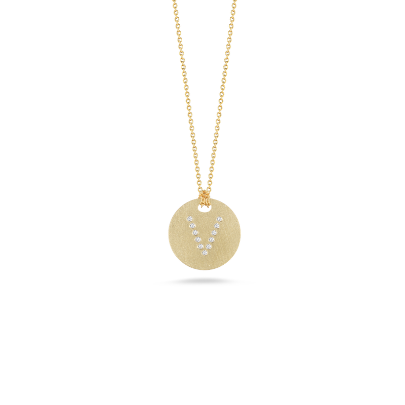 "Diamond Initial Disc ""V"" Necklace (18k Yellow Gold)"