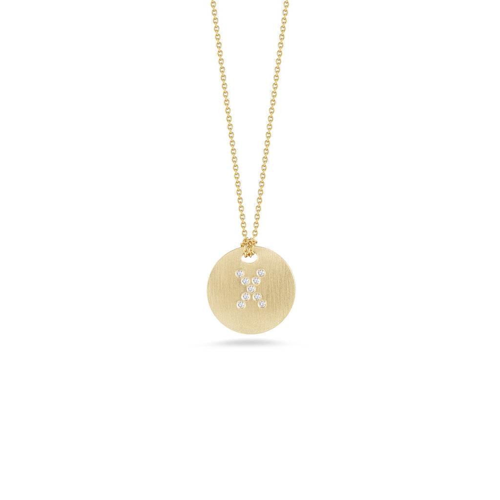 "Diamond Initial Disc ""X"" Necklace (18k Yellow Gold)"