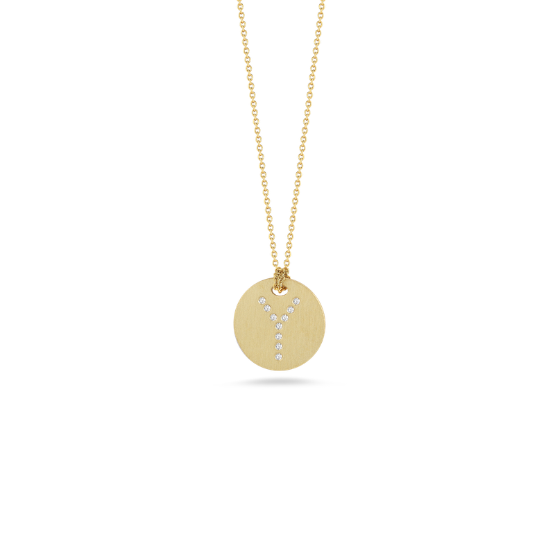 "Diamond Initial Disc ""Y"" Necklace (18k Yellow Gold)"