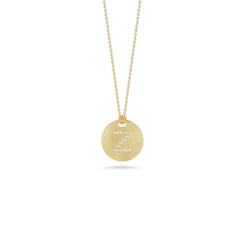 "Diamond Initial Disc ""Z"" Necklace (18k Yellow Gold)"