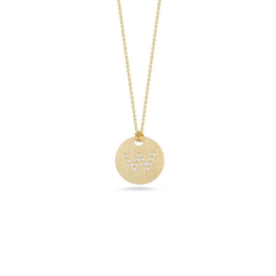 "Diamond Initial Disc ""W"" Necklace (18k Yellow Gold)"