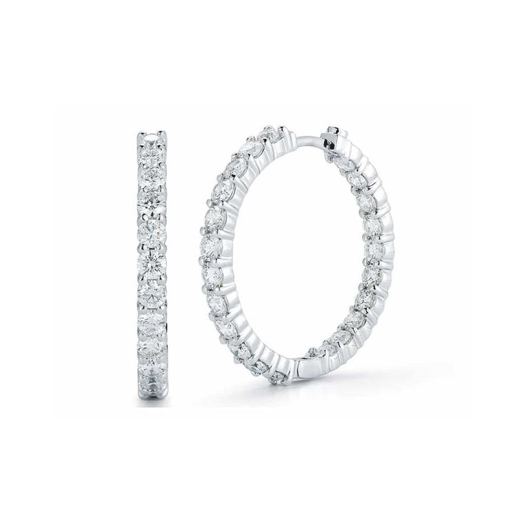 Diamond In-Out Hoop Earrings 3.43ct  (18k White Gold)