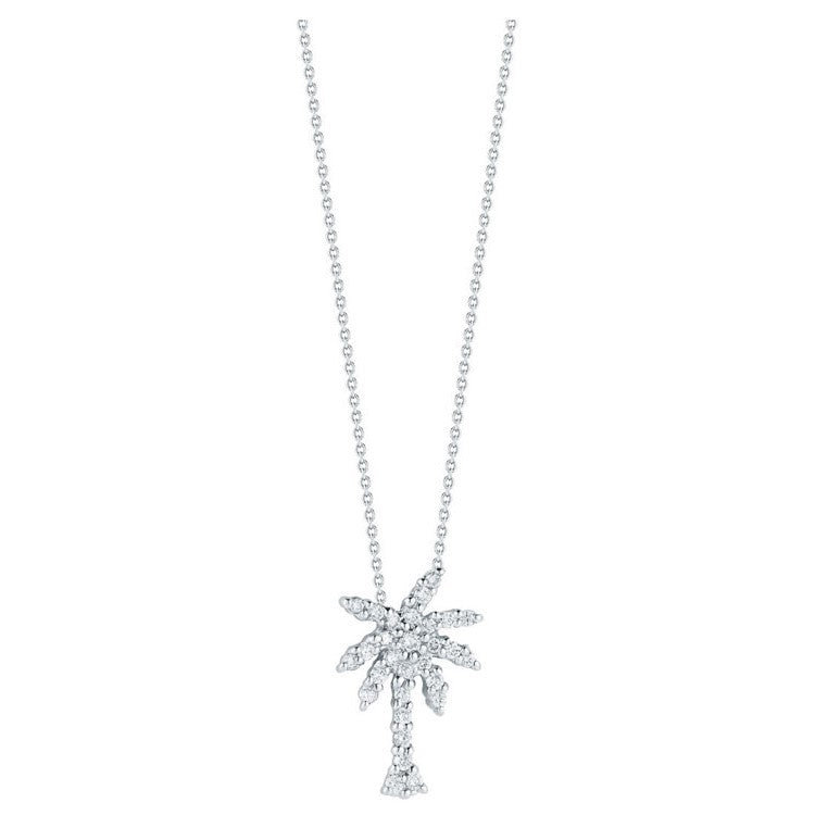 Diamond Small Palm Tree Pendant Necklace  .19ct (18k White Gold)