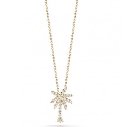 Diamond Small Palm Tree Pendant Necklace (18k Yellow Gold)