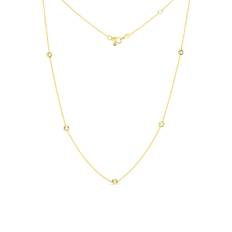 Diamond By the Yard 5 Station Necklace (18k Yellow Gold)