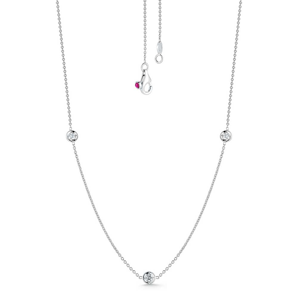 Diamond By the Yard 3 Station Necklace (18k White Gold)