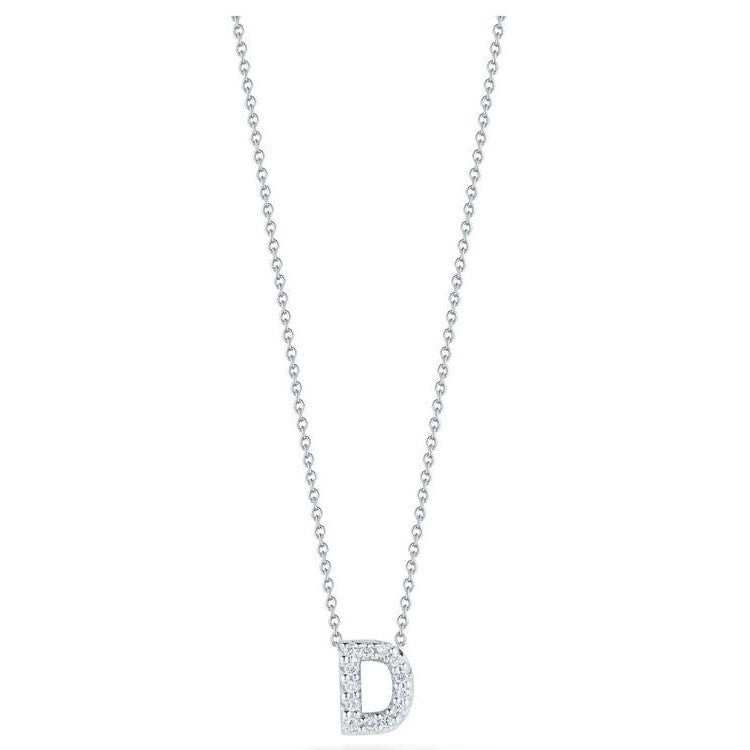 "Diamond ""D"" Love Letter Necklace (18k White Gold)"