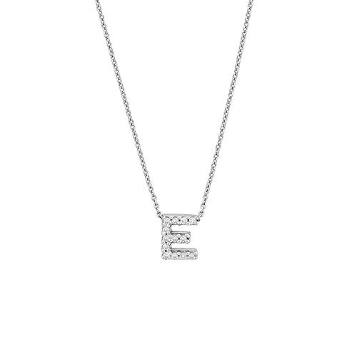 "Diamond ""E"" Love Letter Necklace (18k White Gold)"