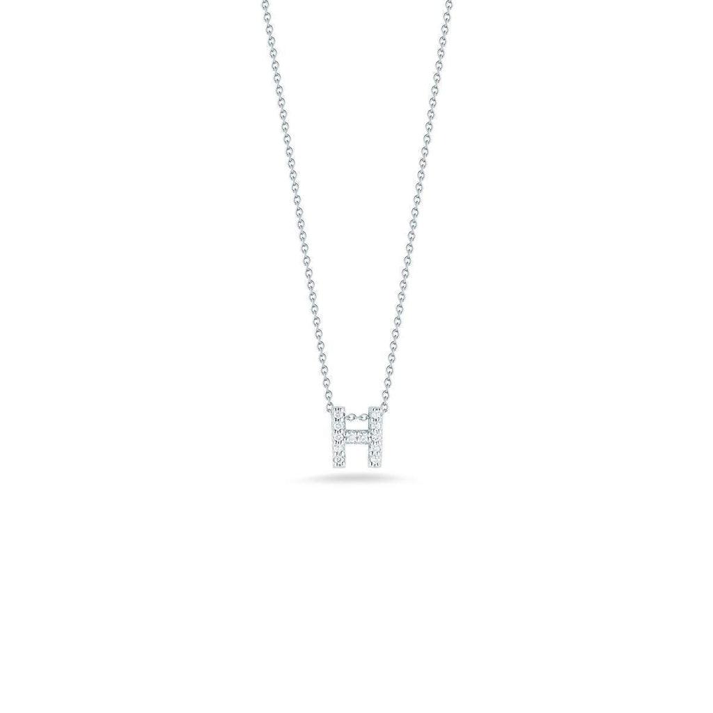 "Diamond ""H"" Love Letter Necklace (18k White Gold)"