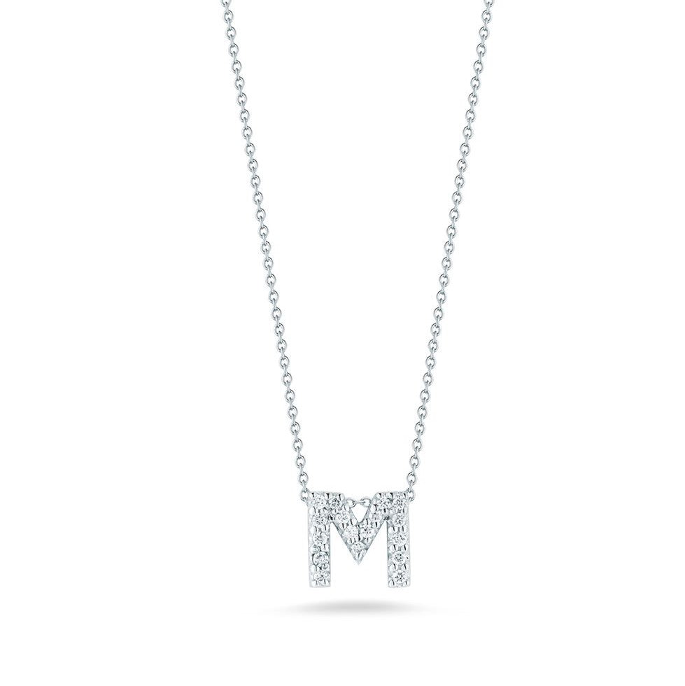 "Diamond ""M"" Love Letter Necklace (18k White Gold)"